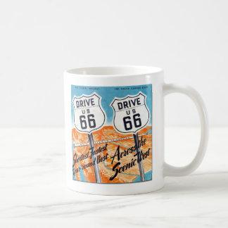 Tasse de café de guide de l'itinéraire 66 des