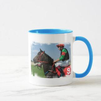 Tasse de café de jockey et de cheval