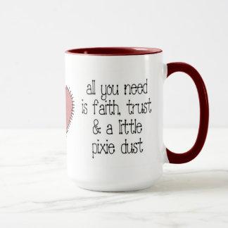 Tasse de café de la poussière de lutin