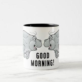 Tasse de café de lamantin d'ami bonjour