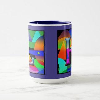 Tasse de café de monogramme de L et de K dans