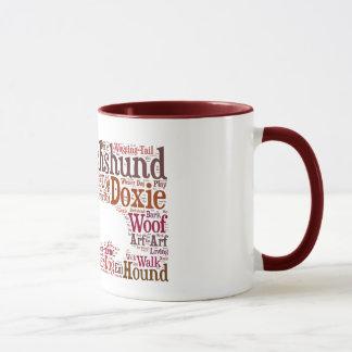 Tasse de café de nuage de mot de Doxie de teckel