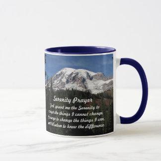 Tasse de café de photo du mont Rainier de prière