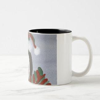 Tasse de café de pingouin d'hiver