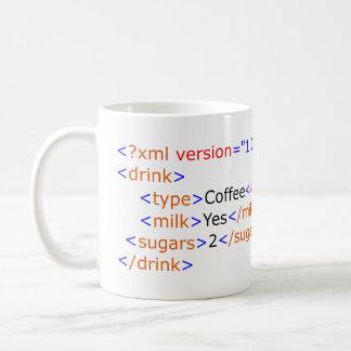 Tasse de café de programmation de XML
