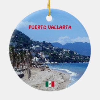 Tasse de café de Puerto Vallarta Ornement Rond En Céramique