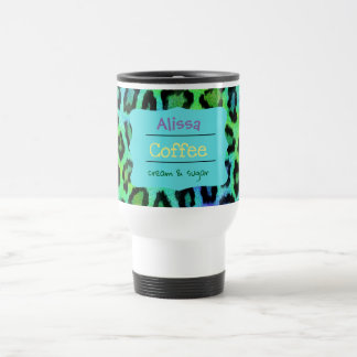 Tasse de café de voyage de léopard d'arc-en-ciel