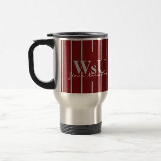 Tasse de café de voyage de rayures de rouge