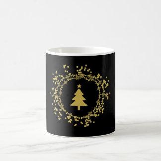 Tasse de café décorative d'arbre de Noël d'or -