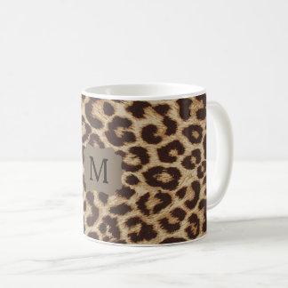 Tasse de café d'empreinte de léopard de monogramme