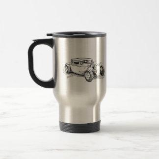 Tasse de café d'ensemble de silhouette de hot rod