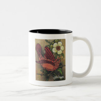 Tasse de café d'oiseau d'art de textile