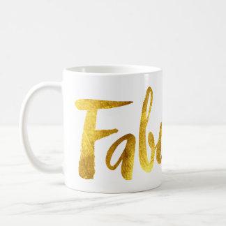 """Tasse de café """"fabuleuse"""" de feuille d'or de Faux"""