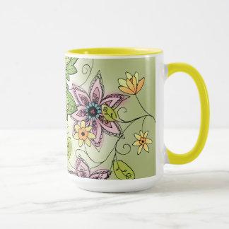 Tasse de café florale de ressort