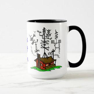 Tasse de café folle de maison de radio-amateur