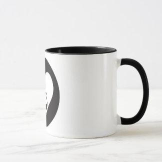 Tasse de café graphique noire de logo de