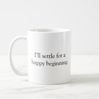 Tasse de café heureuse de début