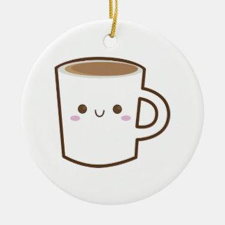 Tasse de café heureuse ornement rond en céramique