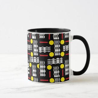 Tasse de café jaune noire d'abrégé sur textile de