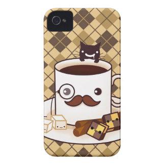 Tasse de café mignonne de moustache sur le Jacquar Coques Case-Mate iPhone 4