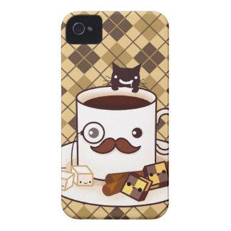 Tasse de café mignonne de moustache sur le Jacquar Coques iPhone 4