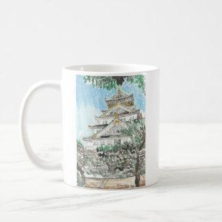 Tasse de café peinte par Japon de château d'Osaka