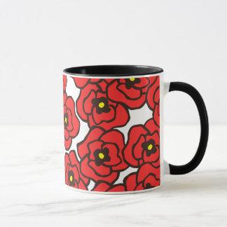 Tasse de café rouge moderne d'impression florale