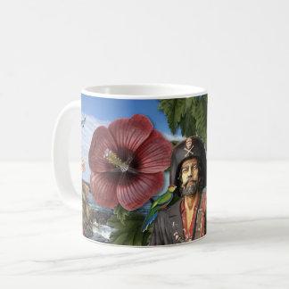 Tasse de café vintage de collage de pirate