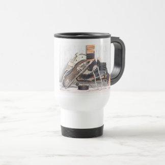 Tasse de café vintage de voyage de masque de patin