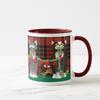 Tasse de chat de Joyeux Noël de plaid