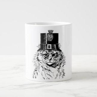 Tasse de chat de Steampunk, Kitty dans le chapeau Mug Jumbo