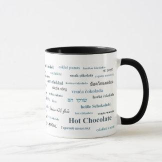 Tasse de chocolat chaud dans différentes langues