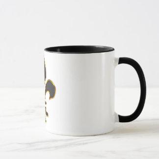 Tasse de Fleur-De-lis élégant de noir et d'or
