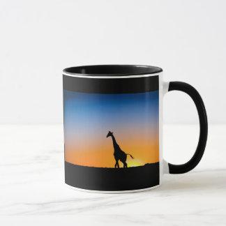 Tasse de girafes coucher du soleil