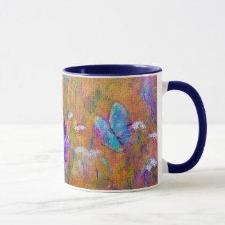 """TASSE """"de jardin d'iris et de papillon"""" florale"""