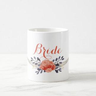 Tasse de jeune mariée de Boho d'aquarelle