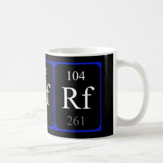Tasse de l'élément 104 - Rutherfordium