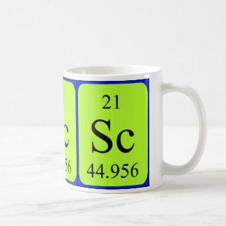 Tasse de l'élément 21 - scandium