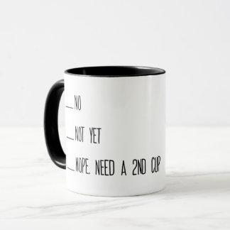Tasse de mesure de café, non, pas encore, tasse,