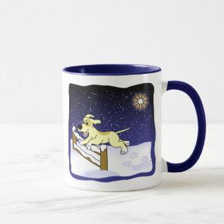 Tasse de Noël de chien d'agilité de bande dessinée