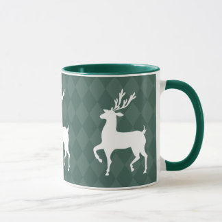 Tasse de Noël de renne de vert forêt