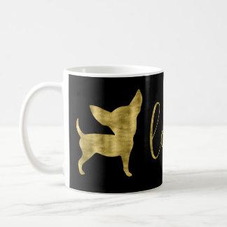 Tasse de noir d'amour de chiwawa de feuille d'or
