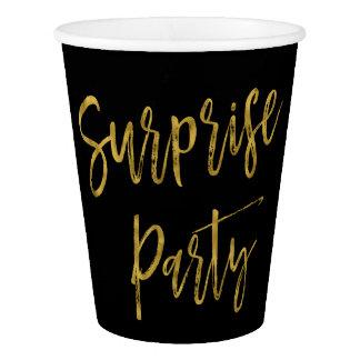 Tasse de papier de feuille d'or de fête gobelets en papier