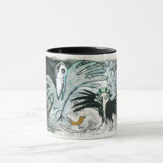 Tasse de peinture d'oiseau