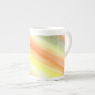 Tasse de porcelaine tendre, art abstrait, orange