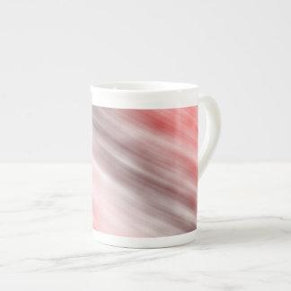 Tasse de porcelaine tendre, art abstrait, rouge