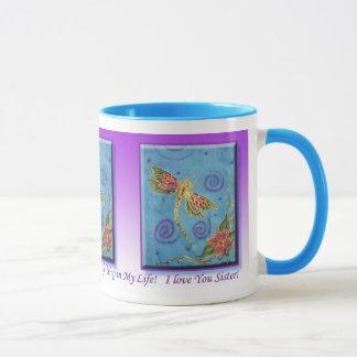 Tasse de siter de gratitude de libellule peinte