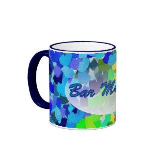Tasse de sonnerie d'art abstrait de vert bleu de