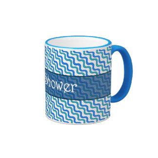 Tasse de sonnerie de profil onduleux de bleu de tu