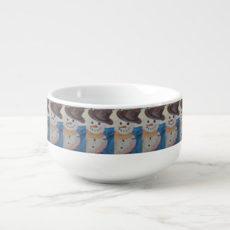 tasse de soupe à peinture de bonhomme de neige